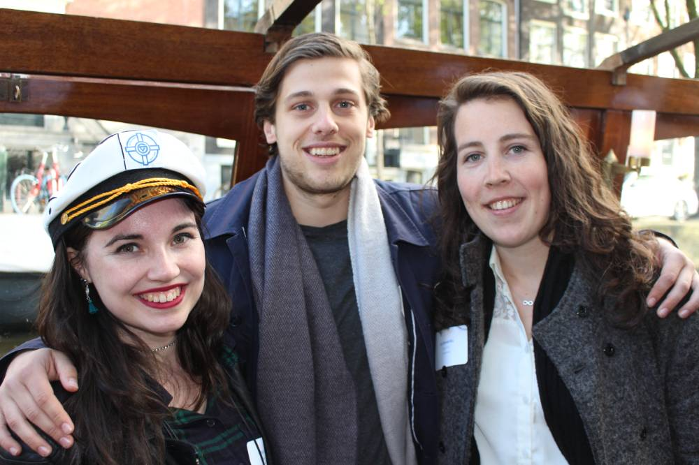 two women and one man on global laker amsterdam adventure